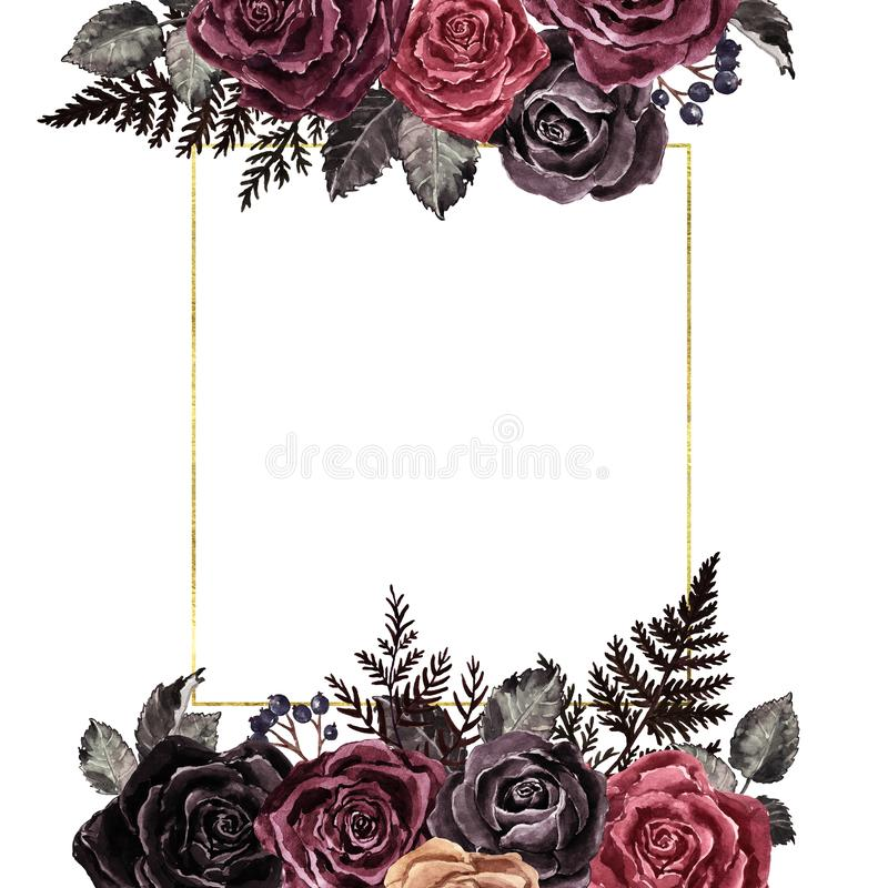 Color de agua rosas rojas y negras marco dorado en estilo victoriano vintage Plantilla de invitación retro, borde botánico floral foto de archivo