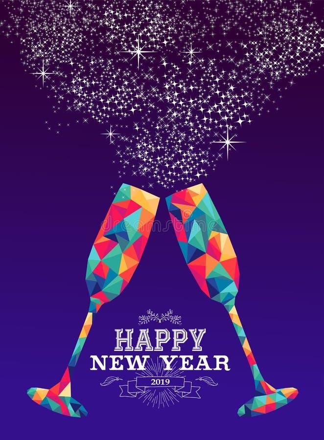 Color de cristal del inconformista del triángulo de la Feliz Año Nuevo 2019 ilustración del vector