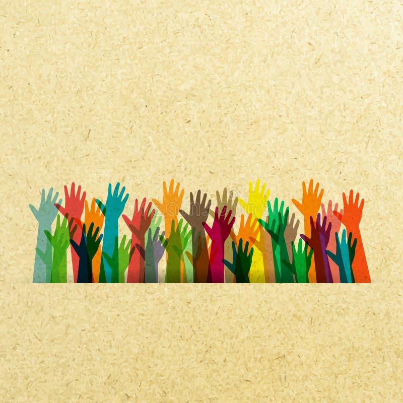 Color de diversas manos levantadas stock de ilustración