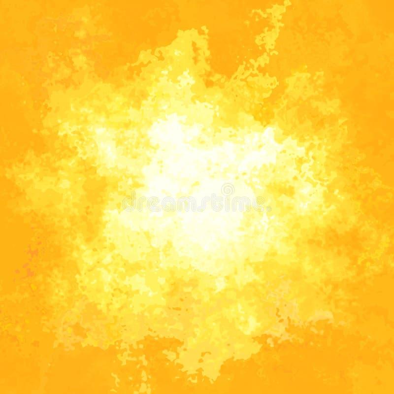 Color de fondo amarillo-naranja soleado manchado de la textura del modelo - arte moderno de la pintura - efecto de la acuarela stock de ilustración