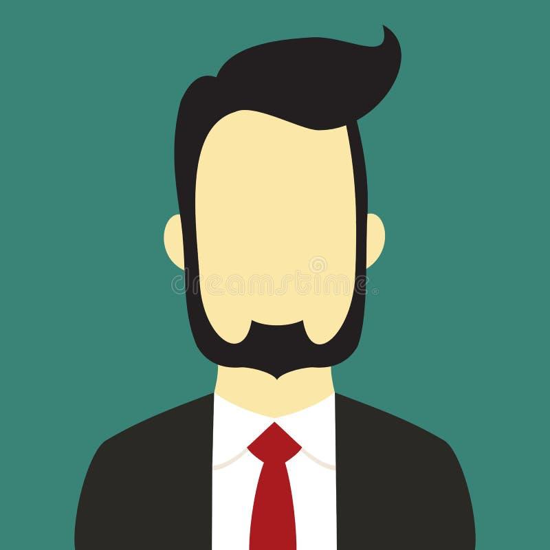 Color de fondo barbudo del ejemplo de Suit People Vector del hombre de negocios ilustración del vector