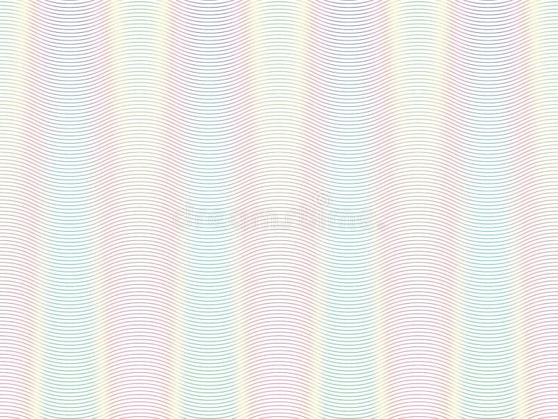 Color de fondo suave del arco iris Modelo de líneas coloreadas finas Elemento del guilloquis Capa protectora para los billetes de ilustración del vector