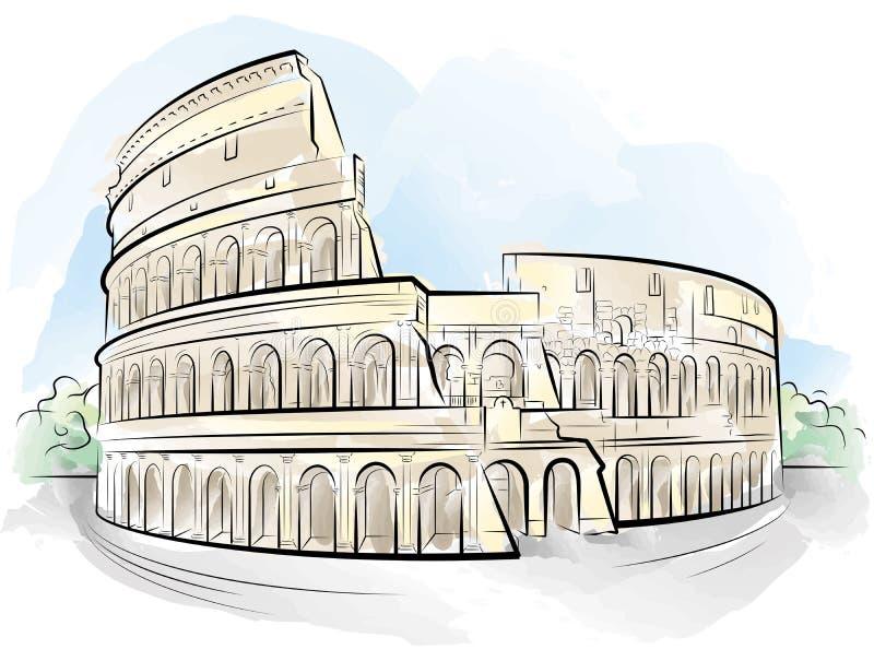 Color de gráfico Colosseum, Roma, Italia libre illustration