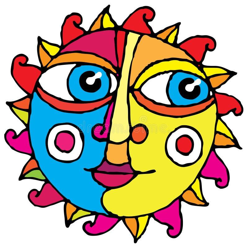 Color de gráfico simple de la mano del sol grande del ojo stock de ilustración