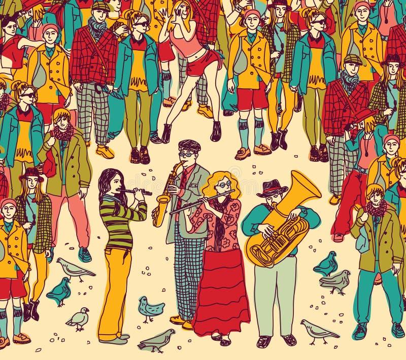 Color de la banda y de la audiencia de los músicos de la calle del grupo ilustración del vector