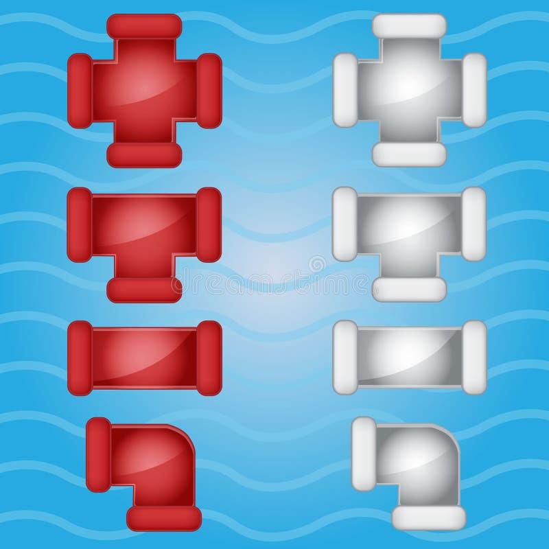 Color de la fontanería de los tubos rojo e icono gris del caramelo fijado en diferente stock de ilustración
