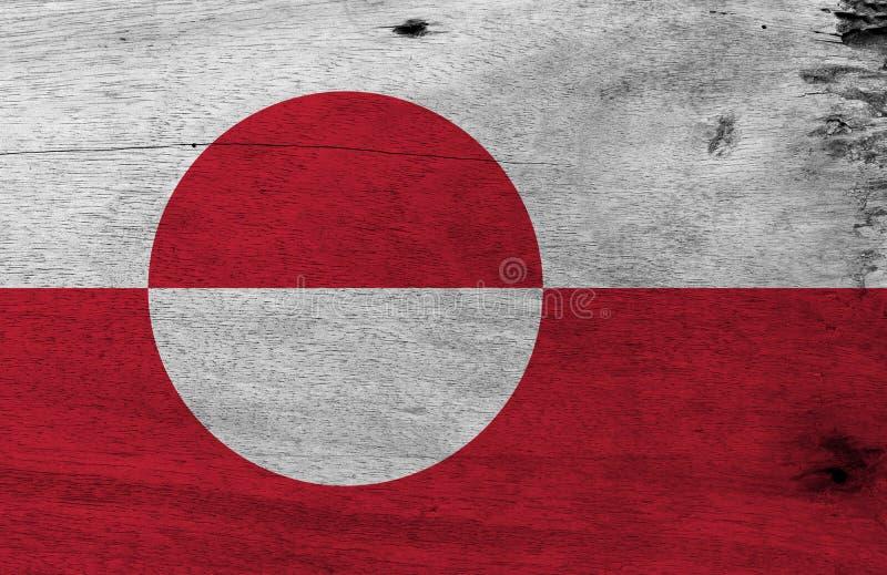 Color de la textura de la bandera de Groenlandia del Grunge, blanco y rojo con un disco counterchanged levemente excéntrico hacia stock de ilustración