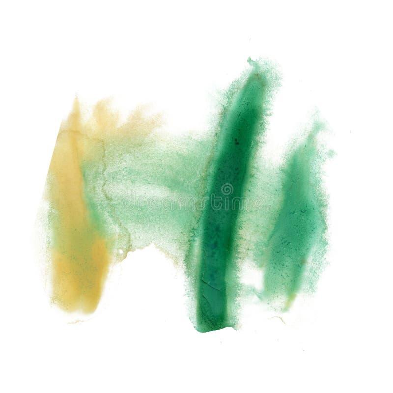 Color de la textura del movimiento de la pintura de los movimientos de la acuarela con el amarillo del verde del espacio para su  ilustración del vector