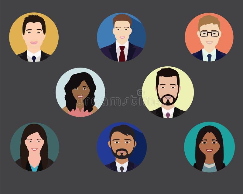 Color de los iconos de la gente stock de ilustración
