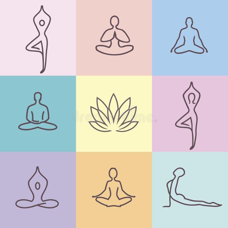 Color 2 de los iconos de la yoga stock de ilustración