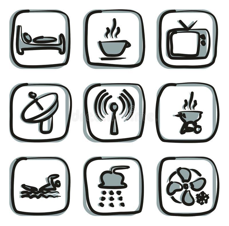 Color 2 de los iconos del motel o del hotel a pulso libre illustration
