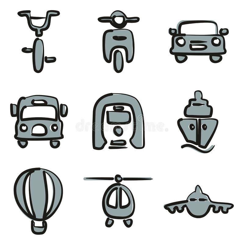 Color 2 de los iconos del transporte a pulso ilustración del vector