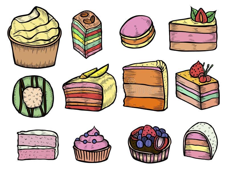 Color de los postres y de los dulces stock de ilustración