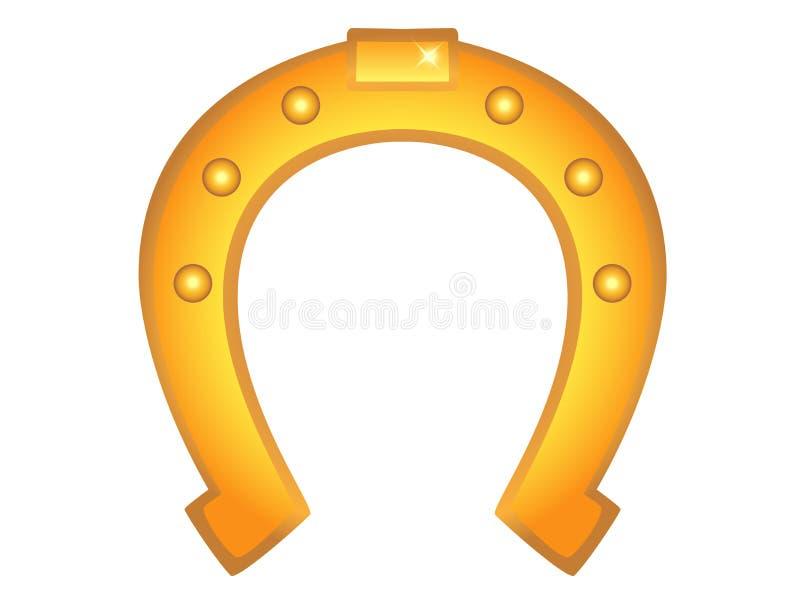 Color de oro del caballo de herradura Herradura - un símbolo de la buena suerte y de la suerte, trae felicidad ilustración del vector