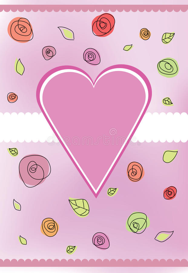 Color de rosa del corazón stock de ilustración