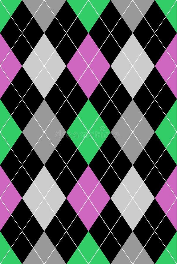 Color de rosa y verde del modelo de Argyle ilustración del vector