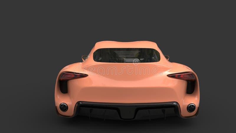 Color de color salmón ligero automotriz de los deportes estupendos modernos - visión trasera stock de ilustración