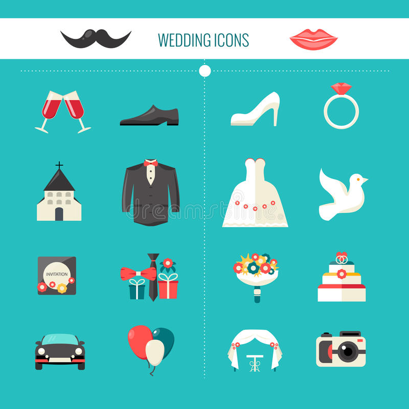 Free Color Decorative Wedding Icons Stock Photography - 63447052
