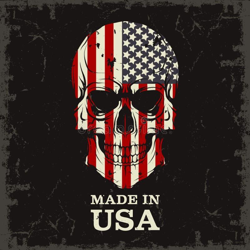 Color del cráneo de la bandera ilustración del vector