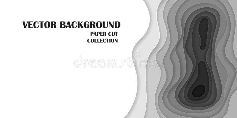 Color del 1:2 del fondo del vector, gris y blanco, en el estilo cortado de papel ilustración del vector