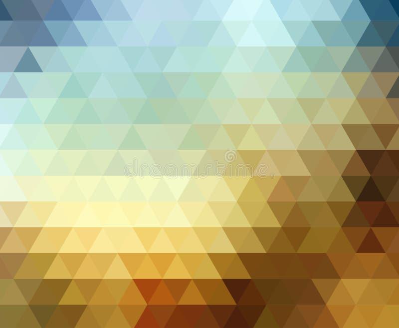 Color del mosaico del pixel del triángulo de Digitaces, oscuro y brillante del marrón azul del amarillo stock de ilustración