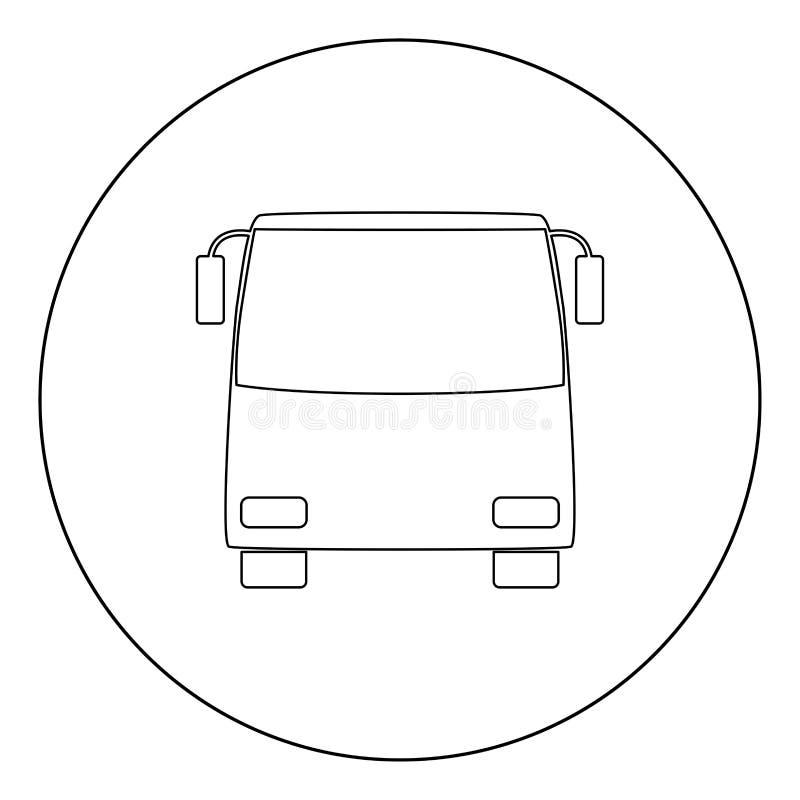 Color del negro del icono del autobús en círculo libre illustration