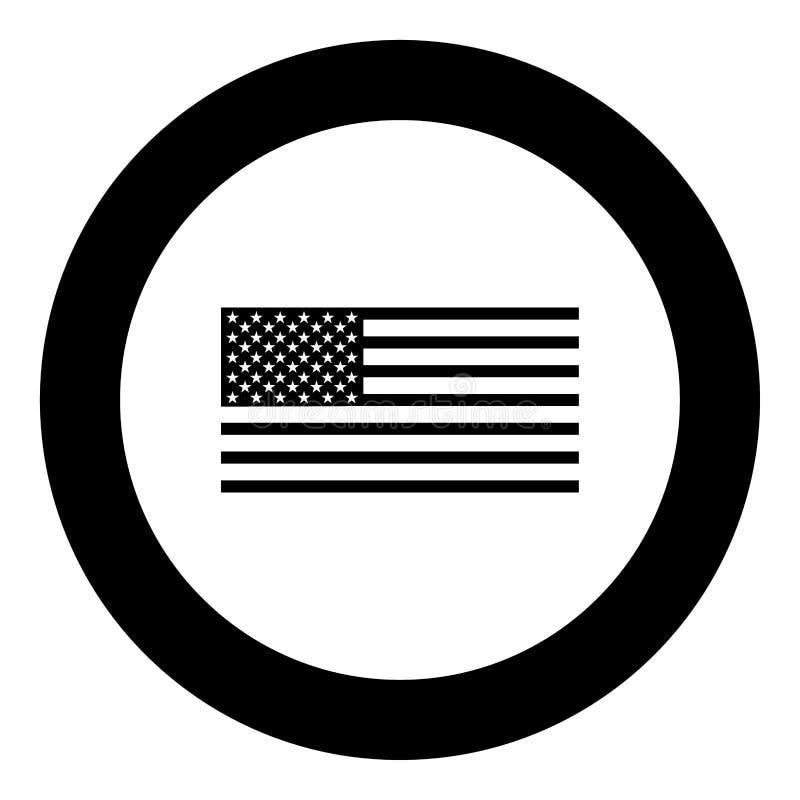 Color del negro del icono de la bandera americana en círculo stock de ilustración
