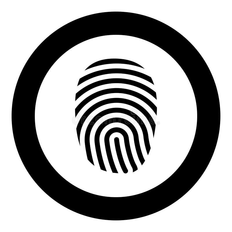 Color del negro del icono de la huella dactilar en el círculo redondo libre illustration