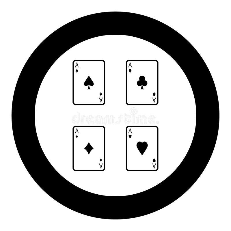 Color del negro del icono de los naipes en círculo ilustración del vector