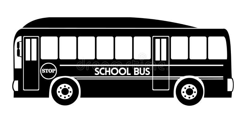 Color del negro del vector del ejemplo del autob?s escolar de la silueta stock de ilustración