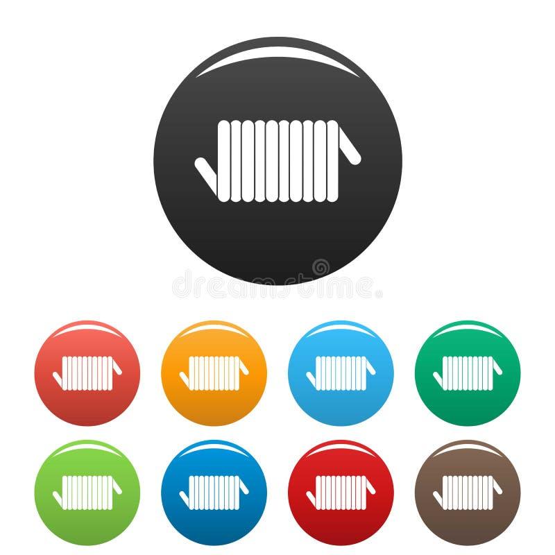 Color del sistema de los iconos de la bobina de la primavera del cordón stock de ilustración