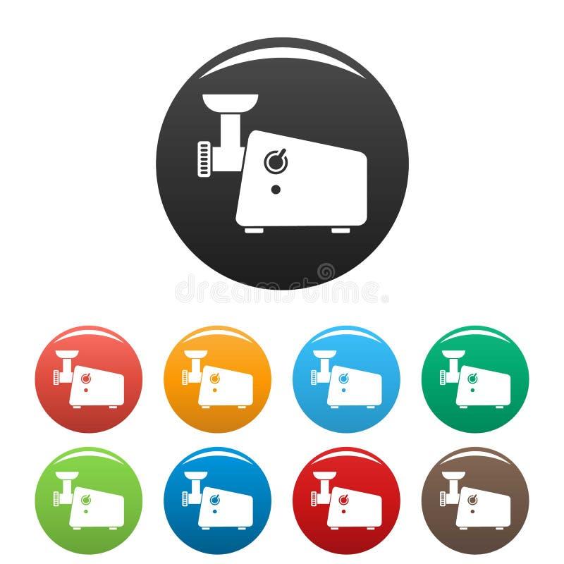 Color del sistema de los iconos de la máquina de la máquina para picar carne stock de ilustración