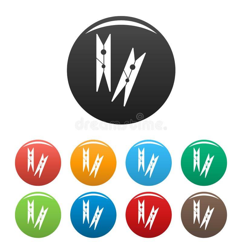 Color del sistema de los iconos de las clavijas de ropa stock de ilustración