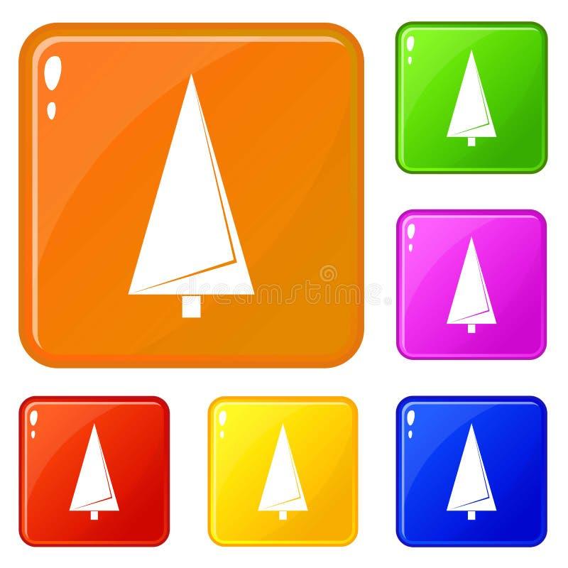 Color del vector del sistema de los iconos del árbol de abeto de la papiroflexia ilustración del vector