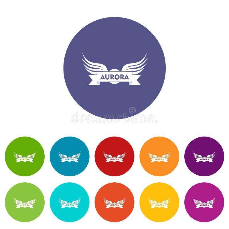Color del vector del sistema de los iconos del ala de la aurora libre illustration