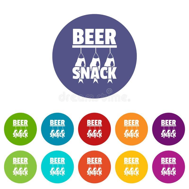 Color del vector del sistema de los iconos del bocado de la cerveza ilustración del vector