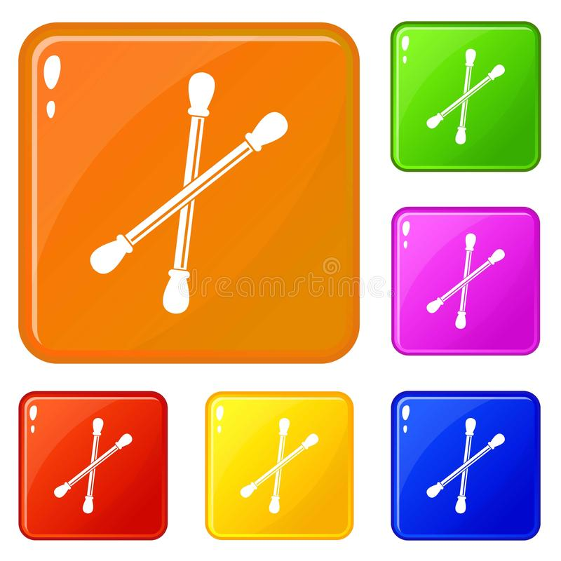 Color del vector del sistema de los iconos de los brotes del algodón stock de ilustración