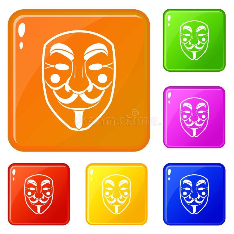 Color del vector del sistema de los iconos de la máscara de la venganza stock de ilustración
