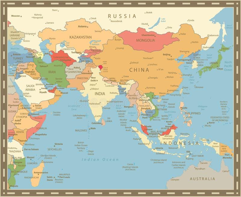 Color del vintage del mapa de Asia del Sur ilustración del vector