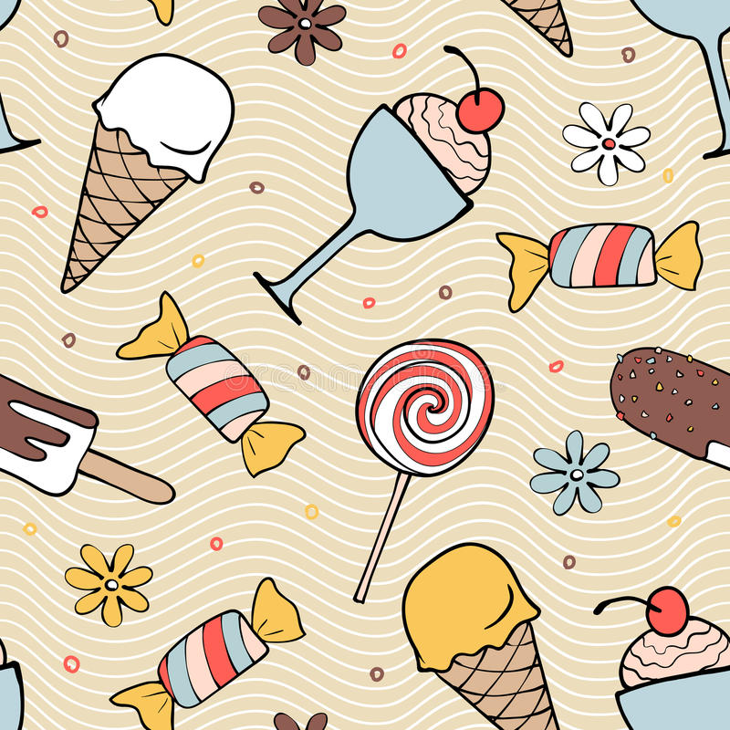 Color desserts seamless pattern. With hand-drawn ice cream, candy, flower stock illustration