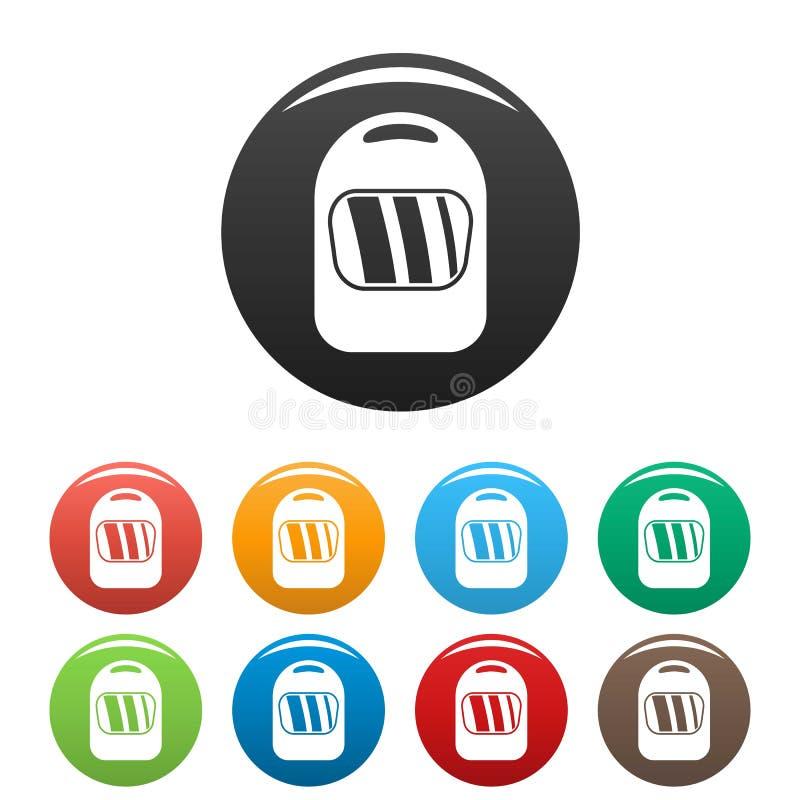 Color determinado de soldadura de los iconos del casco stock de ilustración