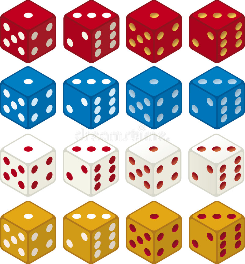Color dices (vector) stock illustration