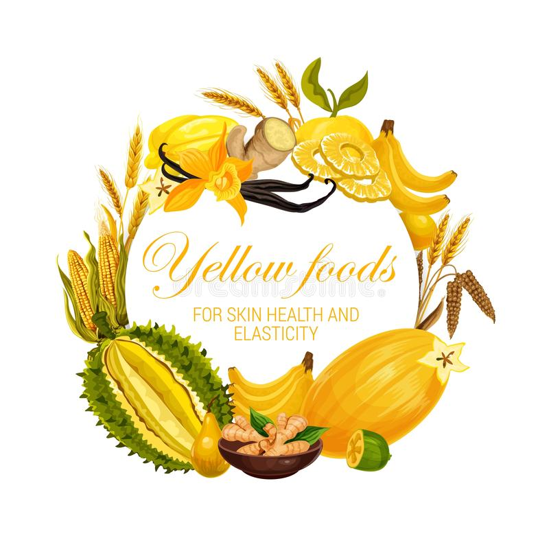 Color diet, yellow food nutrition fruits, spices. Yellow food nutrition, color diet healthy fruits, cereals and spices. Vector natural organic diet, yellow food stock illustration