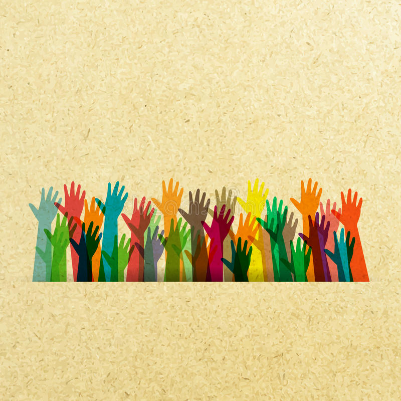 Color of different hands lifted. stock illustration