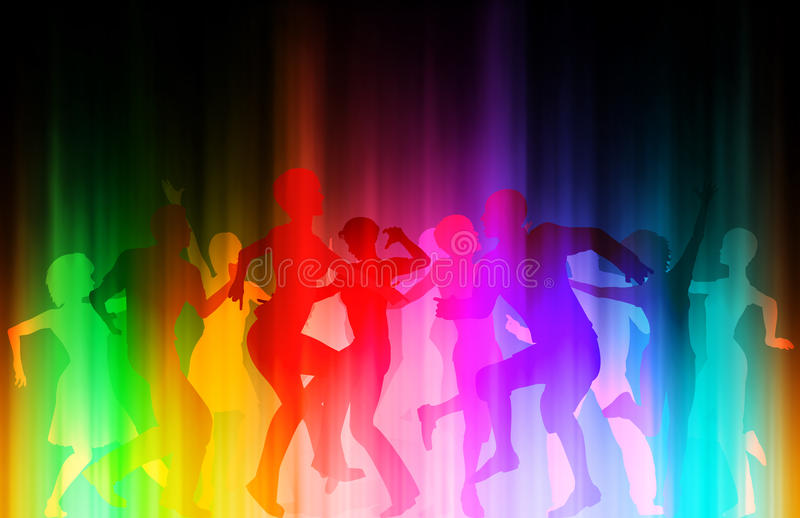 Color disco. Editable eps10 illustration of people dancing at a colorful disco vector illustration