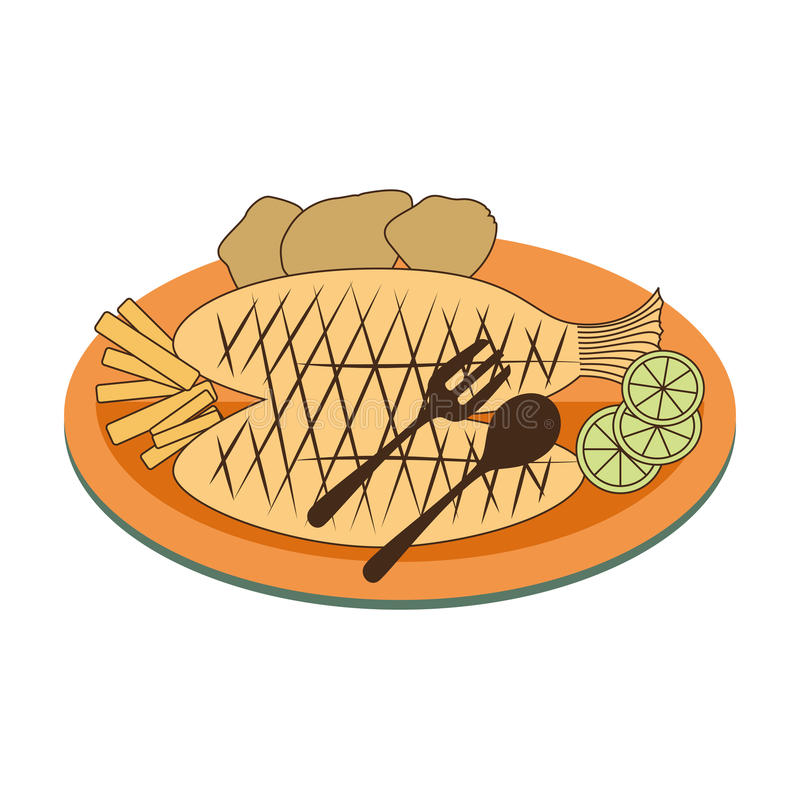Color dish with fry fish with lemon and potatos. Vector illustration royalty free illustration