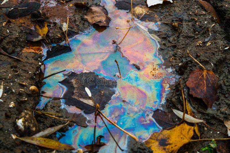 Color divorced from gasoline in the water of the river. Environmental pollution royalty free stock image
