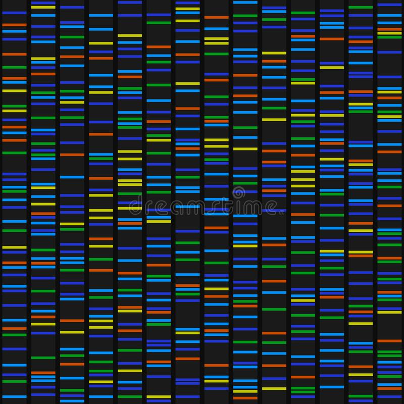 Color Dna Sequence Results on Black Seamless Background. Vector. Illustration stock illustration