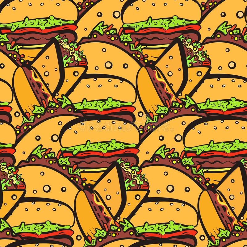 Seamless pattern with chaotic fastfood symbols. Color doodle seamless pattern with chaotic outline fast food. Cute cartoon fastfood including hamburger, tacos vector illustration