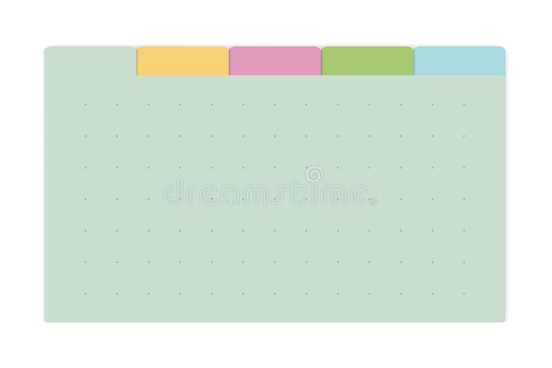 Color dot grid page notebook with tab dividers, vector mock up. Color dot grid page notebook with tab dividers, vector mockup. Self stick memo pads block stock illustration